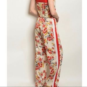 Be You Tiful Pants & Jumpsuits - CCO$!!! Red & Floral Side Striped Jumper